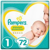 Pampers Premium Protection Taille 1, 2-5 kg, 72 Langes